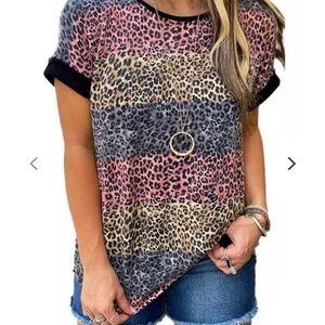 Blue Pink Yellow Leopard Print Patchwork T-Shirt
